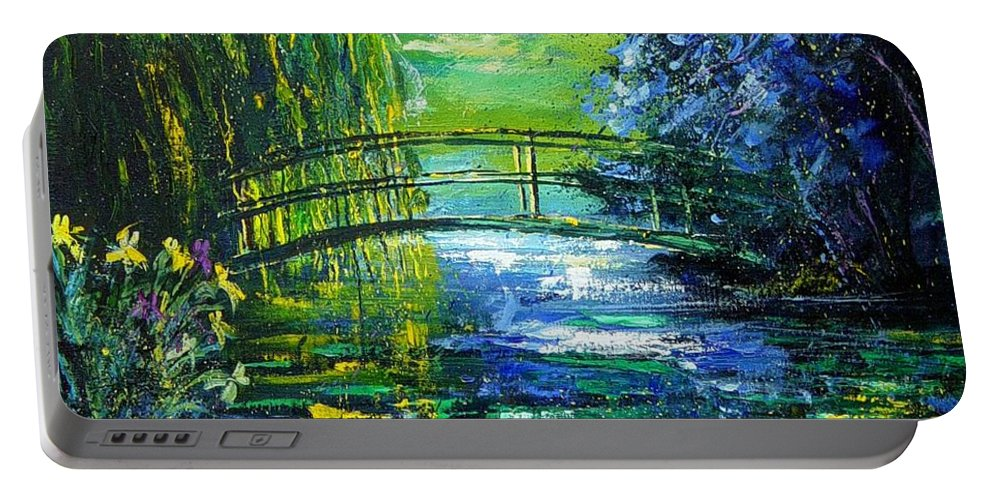 Pond Portable Battery Charger featuring the painting After Monet by Pol Ledent