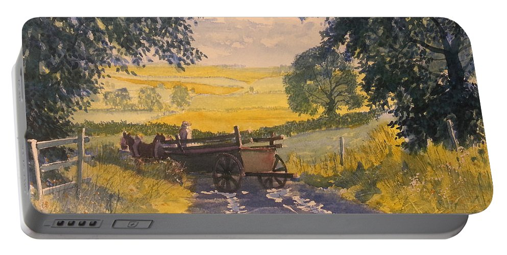 Glenn Marshall Yorkshire Artist Portable Battery Charger featuring the painting After Rain On The Wolds Way by Glenn Marshall