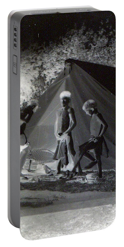 Boys Swimming Camping Tent Nature Clothes Classic 1950s Portable Battery Charger featuring the photograph After Swimming by Andrea Lawrence