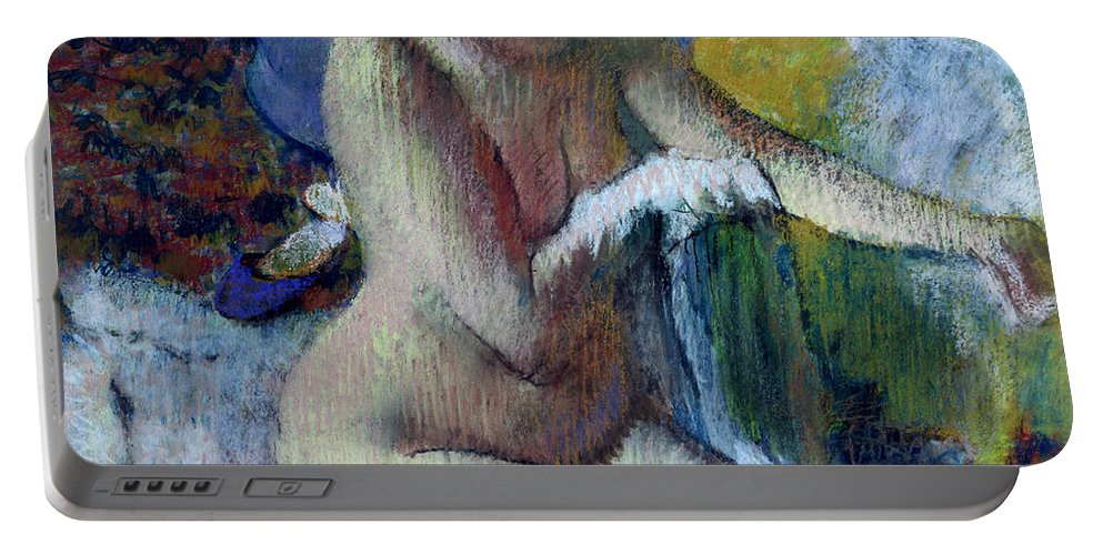 After Portable Battery Charger featuring the painting After The Bath by Edgar Degas
