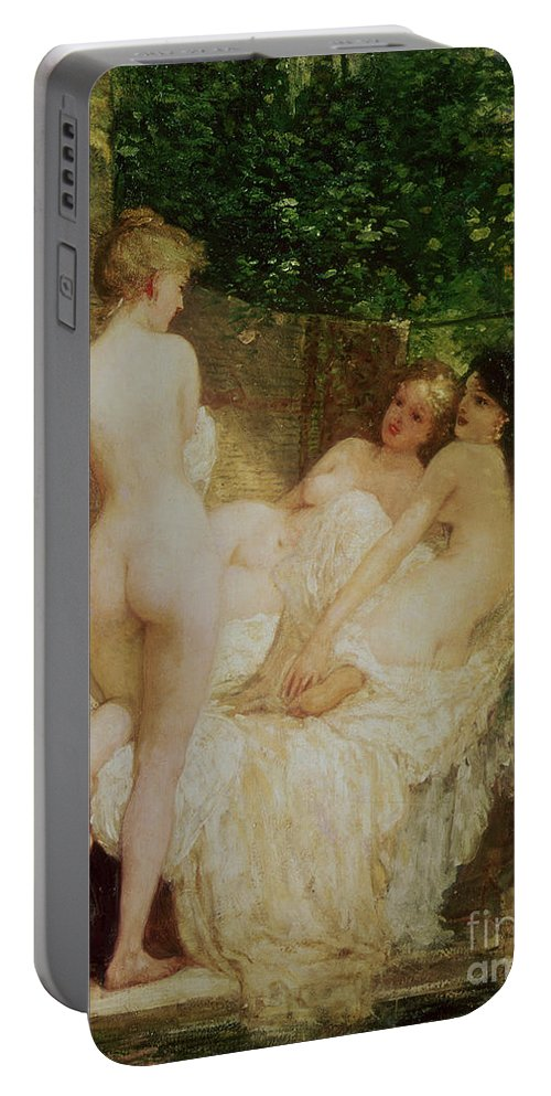 Bal54075 Portable Battery Charger featuring the painting After The Bath by Karoly Lotz