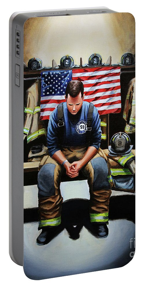 Firefighter Portable Battery Charger featuring the painting After The Fire by Paul Walsh