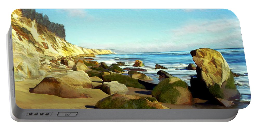 Ocean Portable Battery Charger featuring the photograph After The Fog Gaviota by Kurt Van Wagner