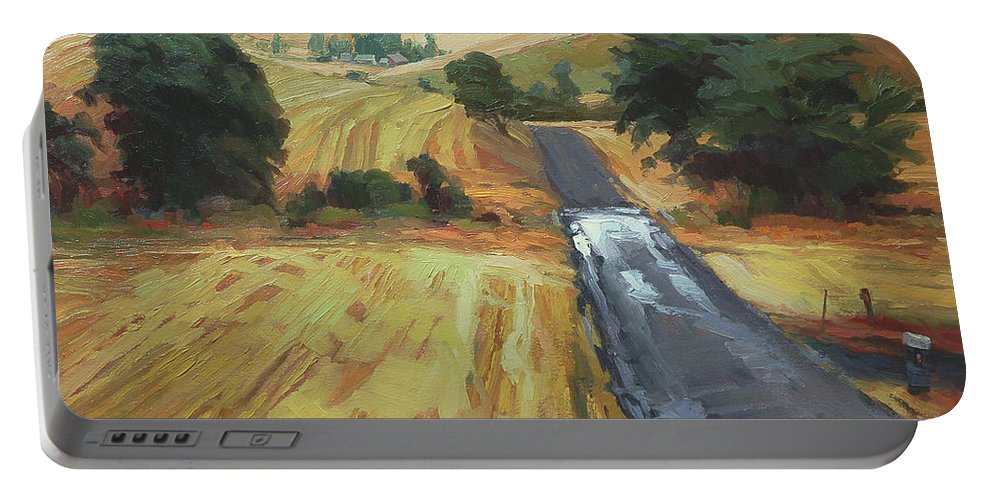 Country Portable Battery Charger featuring the painting After the Harvest Rain by Steve Henderson