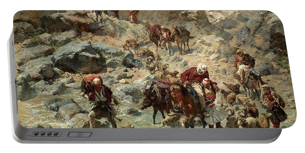 Rudolf Otto Von Ottenfeld Portable Battery Charger featuring the painting After The Raid by Rudolf Otto von Ottenfeld