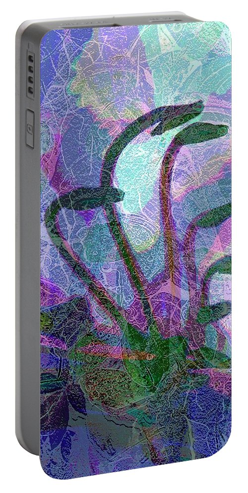 Abstract Plant Life Canvas Print Portable Battery Charger featuring the digital art After The Rain by Betty Pehme
