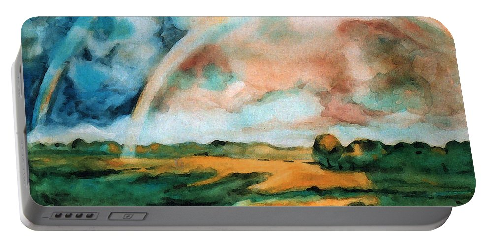Landscape Portable Battery Charger featuring the painting After The Rain by Iliyan Bozhanov
