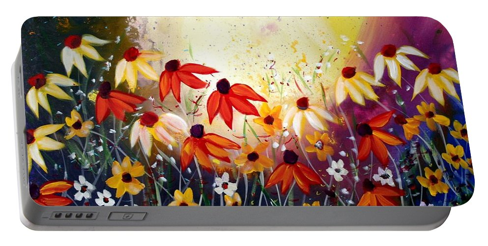 Flowers Portable Battery Charger featuring the painting After The Rain by Luiza Vizoli