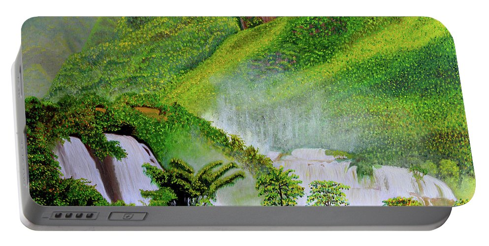 Waterfalls Portable Battery Charger featuring the painting After The Rain by Thu Nguyen
