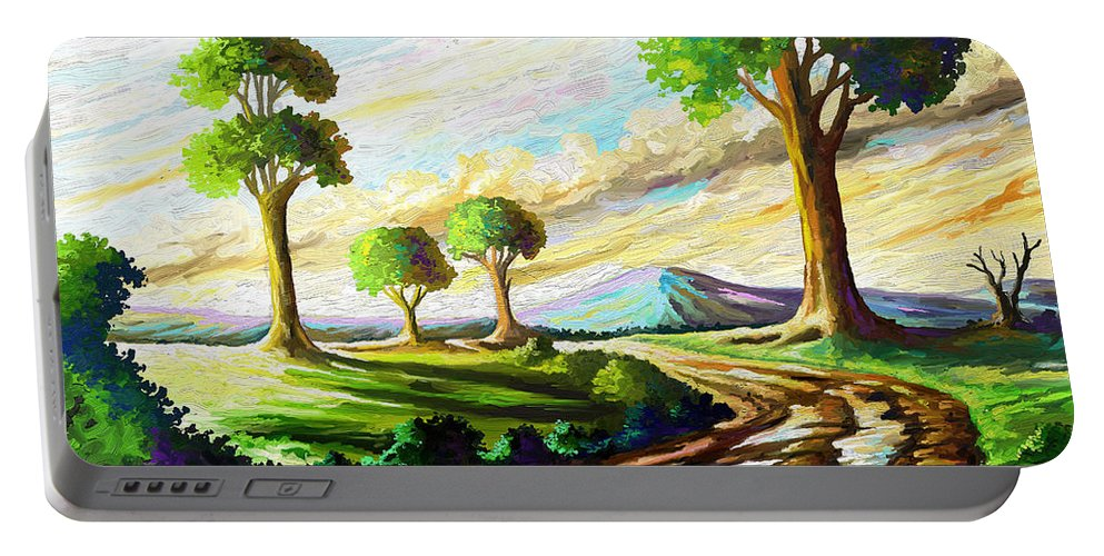 Sky Portable Battery Charger featuring the painting After The Rains by Anthony Mwangi