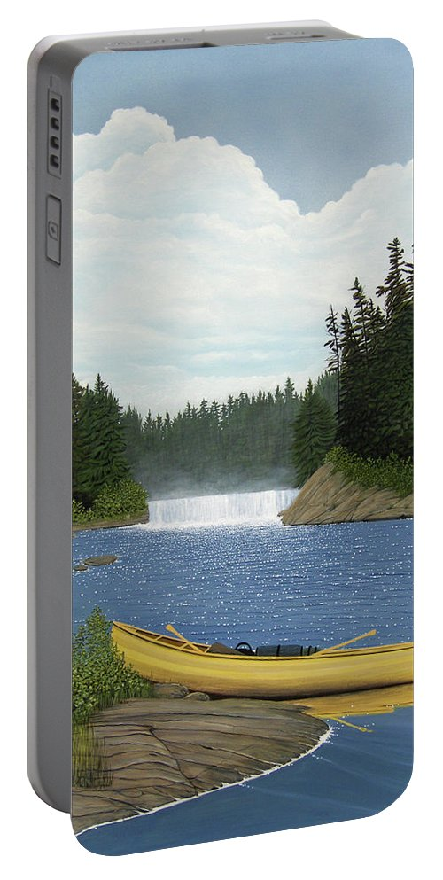 Landscapes Portable Battery Charger featuring the painting After The Rapids by Kenneth M Kirsch
