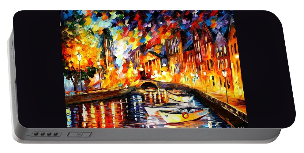 Afremov Portable Battery Charger featuring the painting After The River Turns by Leonid Afremov