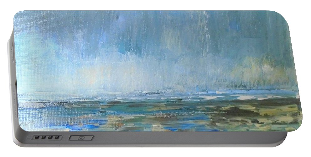 Sea Portable Battery Charger featuring the painting After The Storm by Angela Cartner