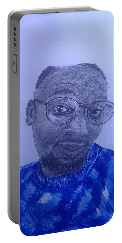 Portrait Portable Battery Charger featuring the drawing After The Storm by Kabelo Letsweni
