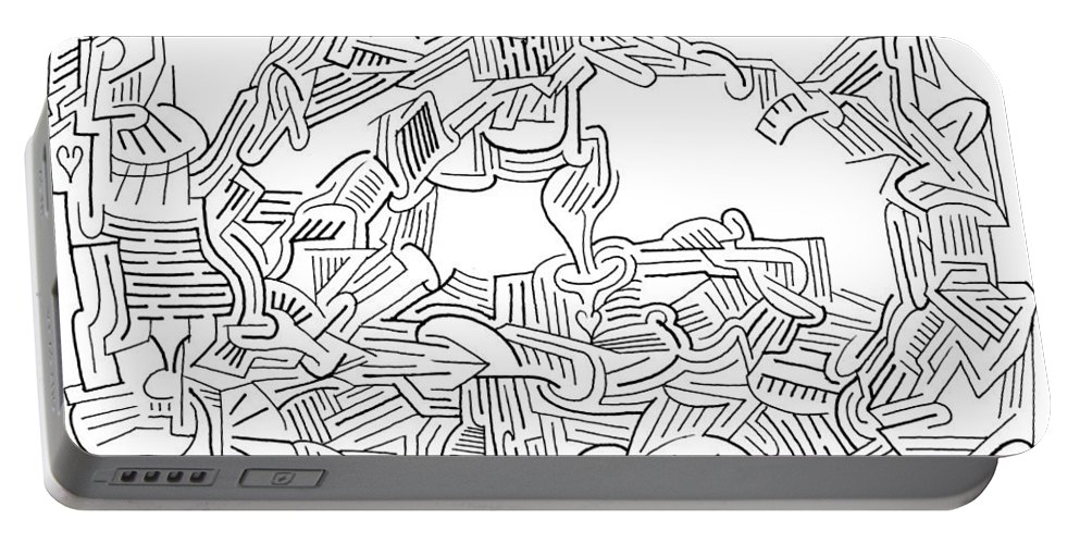 Mazes Portable Battery Charger featuring the drawing Aftermath by Steven Natanson