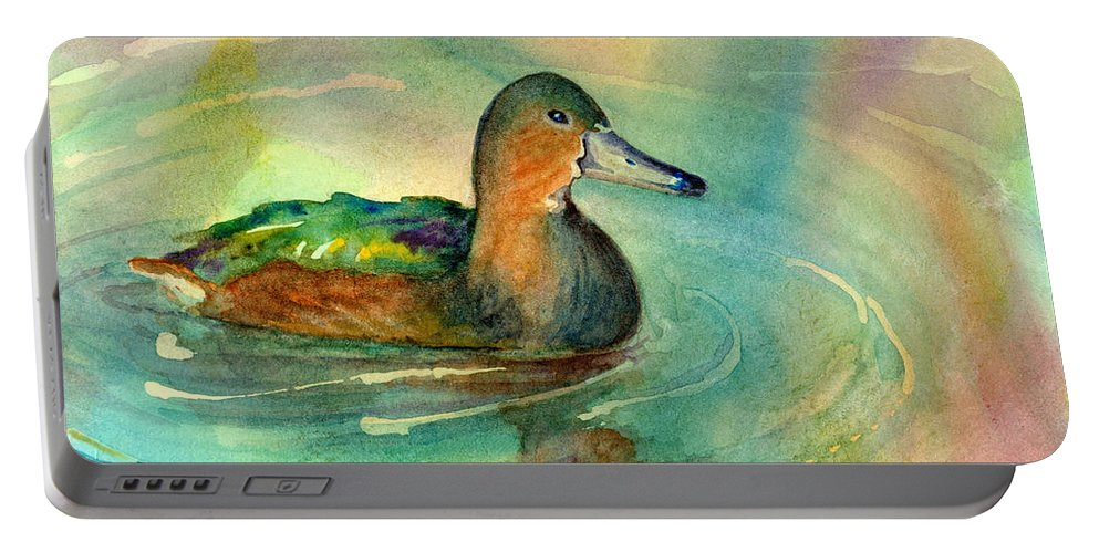 Duck Portable Battery Charger featuring the painting Afternoon Break by Amy Kirkpatrick