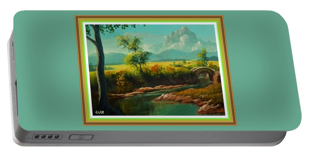 Riverside Portable Battery Charger featuring the digital art Afternoon By The River With Peaceful Landscape L A S With Decorative Ornate Printed Frame. by Gert J Rheeders