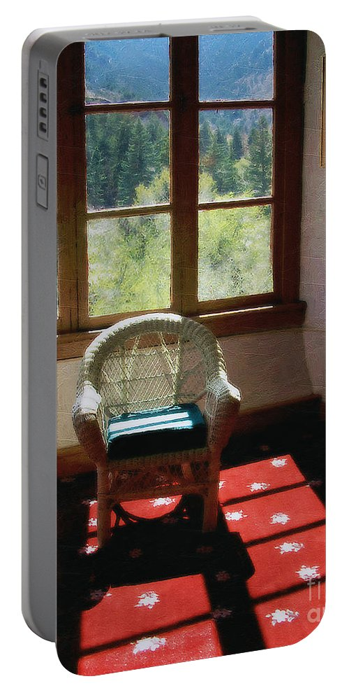 Antiques Portable Battery Charger featuring the painting Afternoon In The Solarium by RC DeWinter
