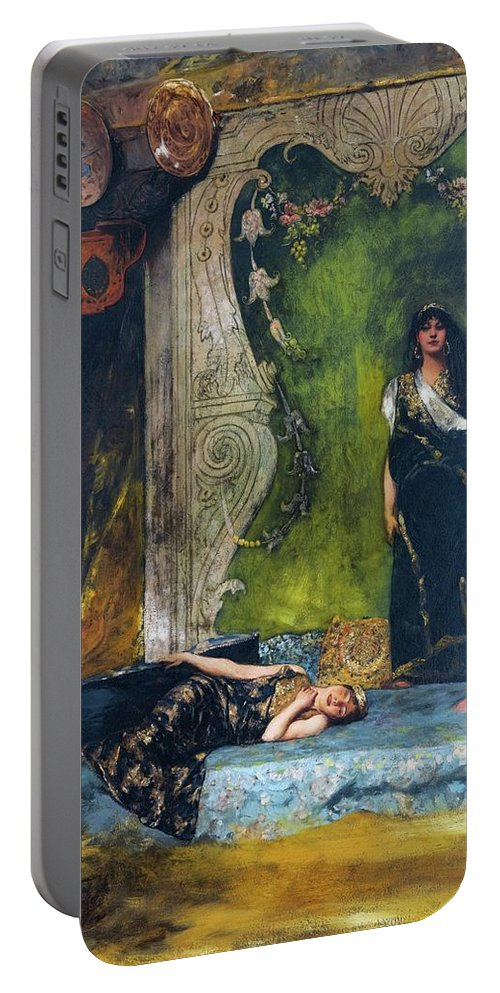 Jean Joseph Benjamin Constant French 1845 - 1902 Afternoon Langour Portable Battery Charger featuring the painting Afternoon Langour by MotionAge Designs