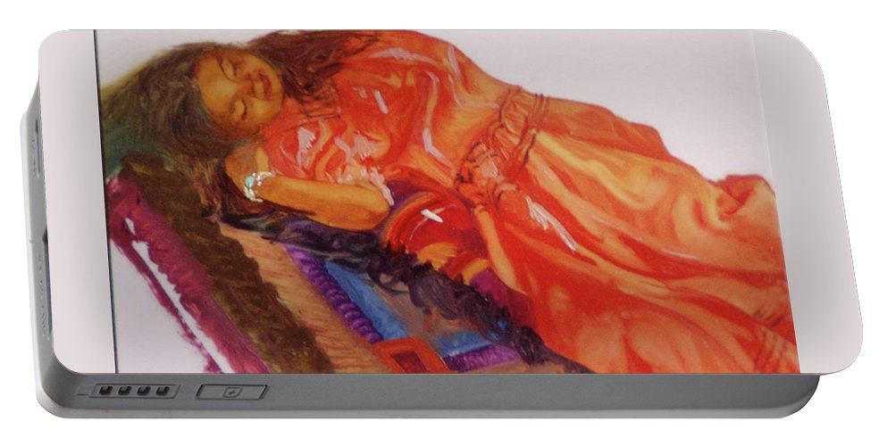 Miniatures Portable Battery Charger featuring the painting Afternoon Nap by Betty Jean Billups