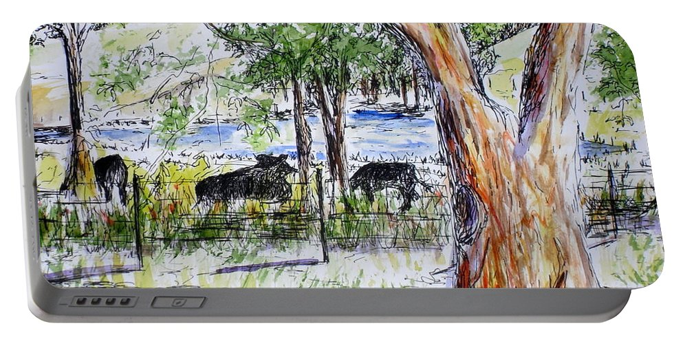 Cows Portable Battery Charger featuring the painting Afternoon Siesta On The Farm by Vicki Housel