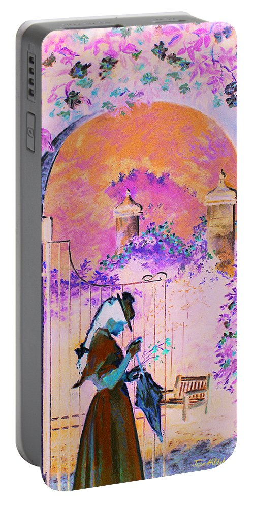 Rose Portable Battery Charger featuring the painting Afternoon Stroll by Jean Hildebrant