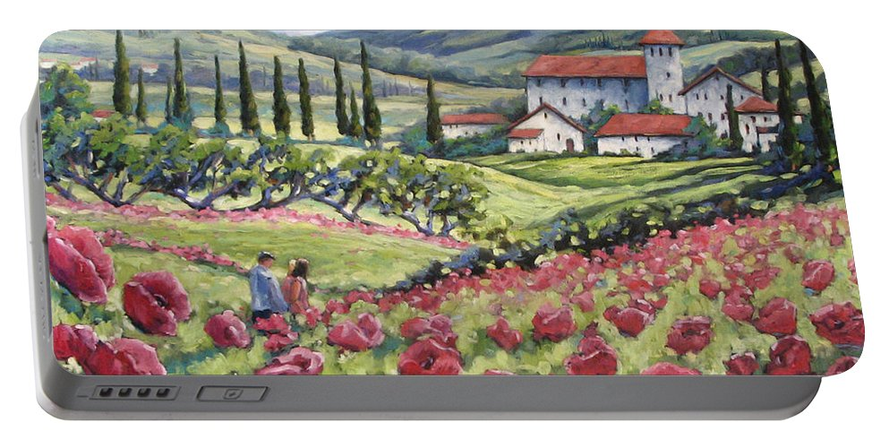 Tuscan Portable Battery Charger featuring the painting Afternoon Stroll by Richard T Pranke