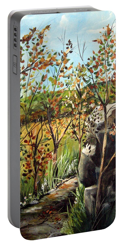 Portable Battery Charger featuring the painting Afternoon Stroll by Ruth Palmer
