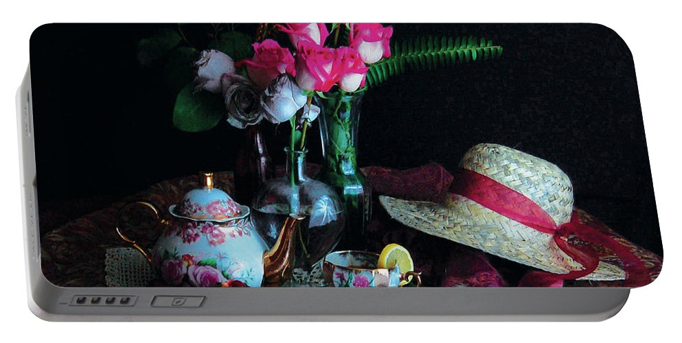 From Homage To The Masters Series Portable Battery Charger featuring the photograph Afternoon Tea by Renae Friedley