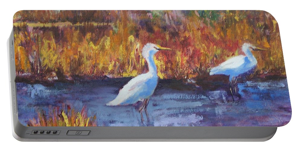 Maine Portable Battery Charger featuring the painting Afternoon Waders by Alicia Drakiotes