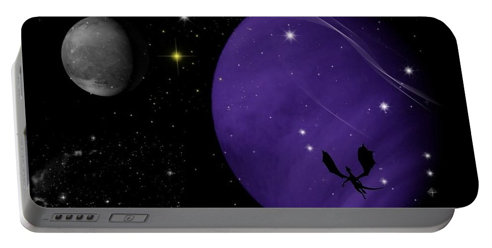 Dragon Portable Battery Charger featuring the digital art Again They Rise by Rhonda Barrett