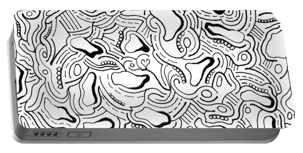 Mazes Portable Battery Charger featuring the drawing Against The Grain by Steven Natanson