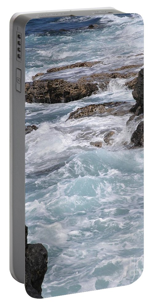 Blue Ocean Portable Battery Charger featuring the photograph Against The Rocks by Mary Deal