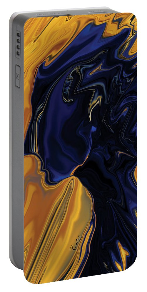 Abstract Portable Battery Charger featuring the digital art Against The Wind by Rabi Khan