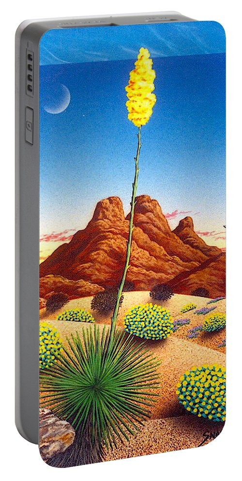 Agave Cactus Portable Battery Charger featuring the painting Agave Bloom by Snake Jagger