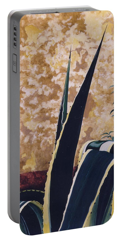 Hyperrealism Portable Battery Charger featuring the painting Agave I by Michael Earney