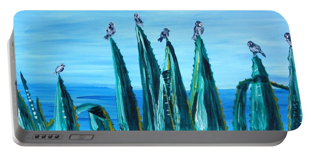 Landscape Portable Battery Charger featuring the painting Agave With Sparrows by Valerie Ornstein