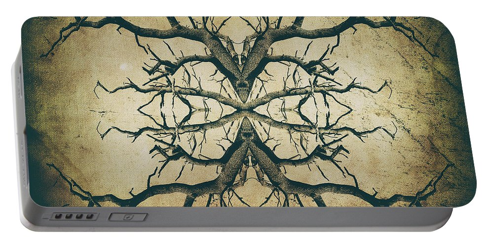 Aged Tree Portable Battery Charger featuring the photograph Aged Sepia Tree Dual by John Williams
