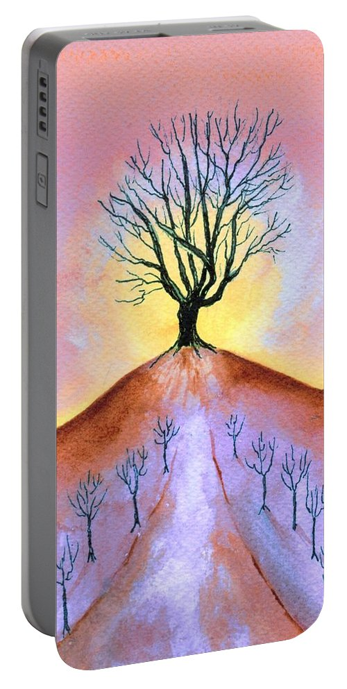 Watercolor Portable Battery Charger featuring the painting Aglow by Brenda Owen