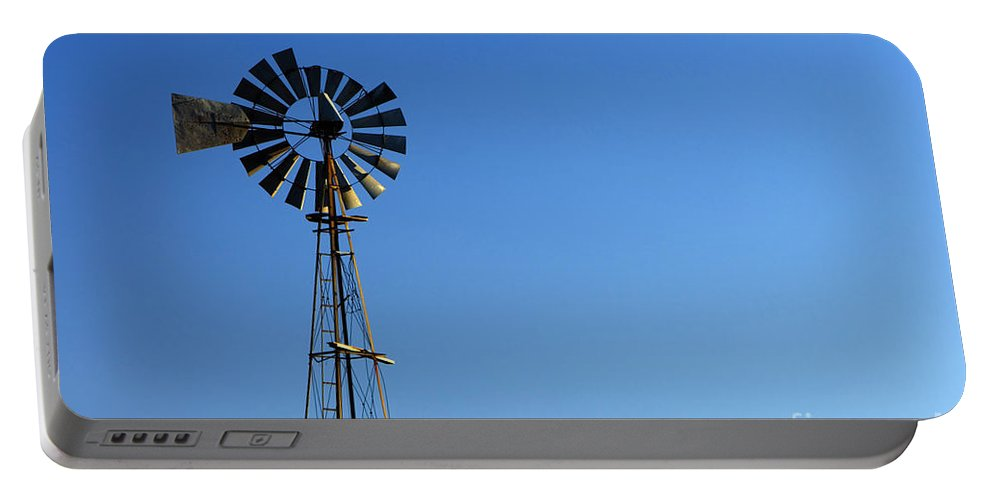 Windmill Portable Battery Charger featuring the photograph Agricultural Windmill by Inga Spence