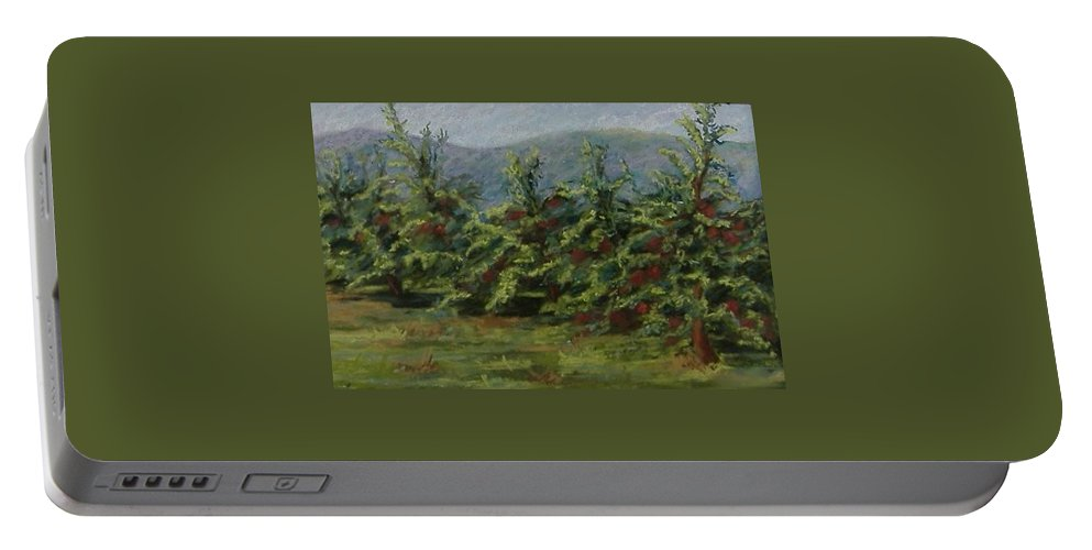 Apple Trees Portable Battery Charger featuring the pastel Ah The Apple Trees by Pat Snook