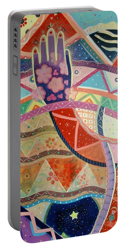 Hand Portable Battery Charger featuring the painting Aim High by Helena Tiainen