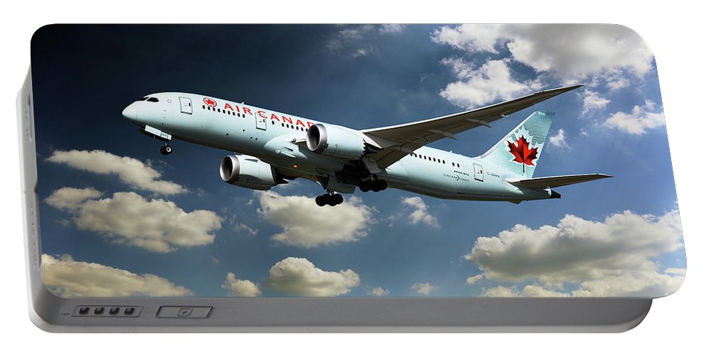 787 Portable Battery Charger featuring the digital art Air Canada 787 Dreamliner by J Biggadike