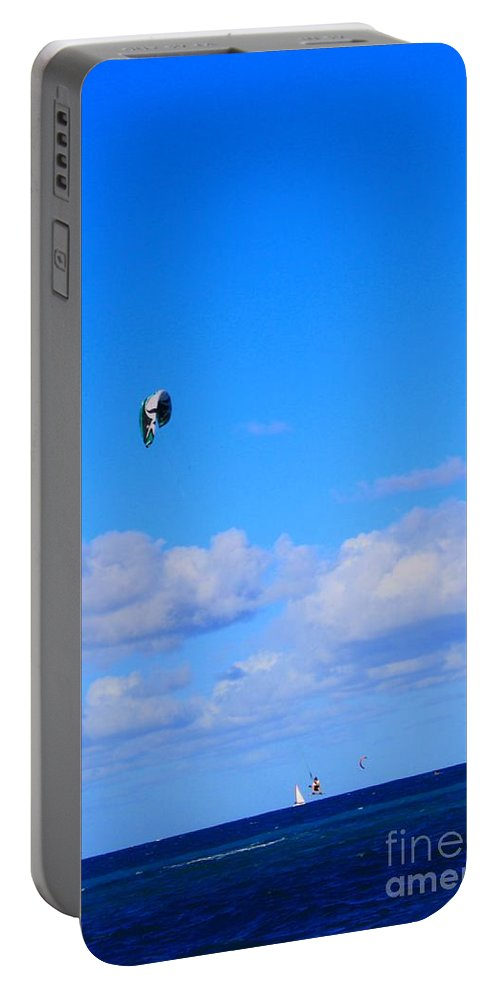 Kite Portable Battery Charger featuring the photograph Airborne Kitesurfer by John W Smith III