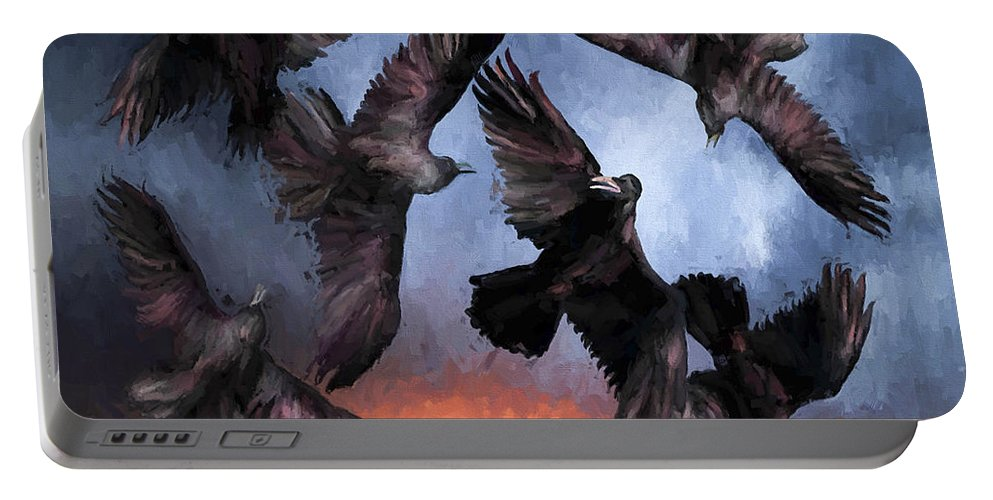 Fine Art Portable Battery Charger featuring the painting Airborne Unkindness by David Wagner