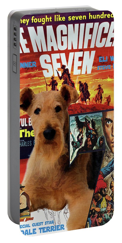 Airedale Terrier Portable Battery Charger featuring the painting Airedale Terrier Art Canvas Print - The Magnificent Seven Movie Poster by Sandra Sij
