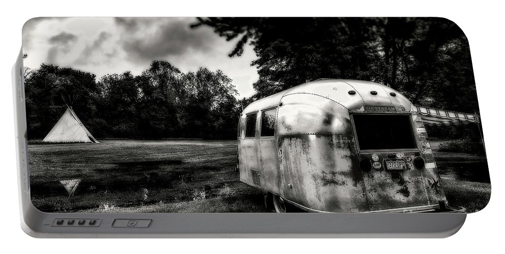 Airstream Portable Battery Charger featuring the photograph Airstream Reflection by Grant Dupill