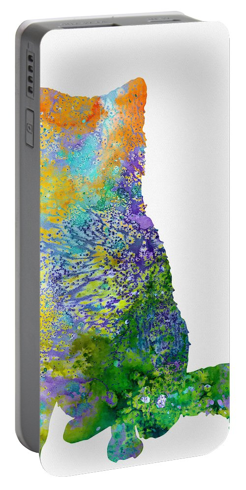 Akita Inu Portable Battery Charger featuring the digital art Akita Inu by Erzebet S