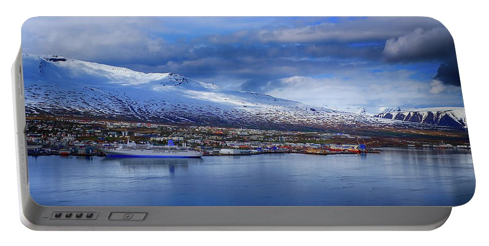 Akureyri Portable Battery Charger featuring the photograph Akureyri Port by Ceri Jones