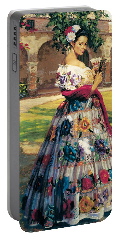 Woman Elaborately Embroidered Mexican Dress. Background Mission San Juan Capistrano. Portable Battery Charger featuring the painting Al Aire Libre by Jean Hildebrant